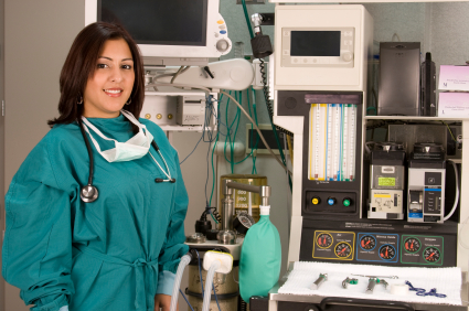 Anesthesiologist with anesthesiology equipment