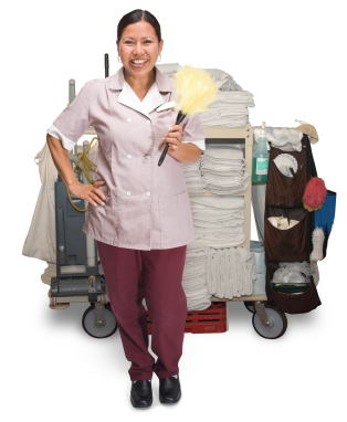Hotel housekeeper with cleaning supplies