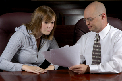 A lawyer consults with his client